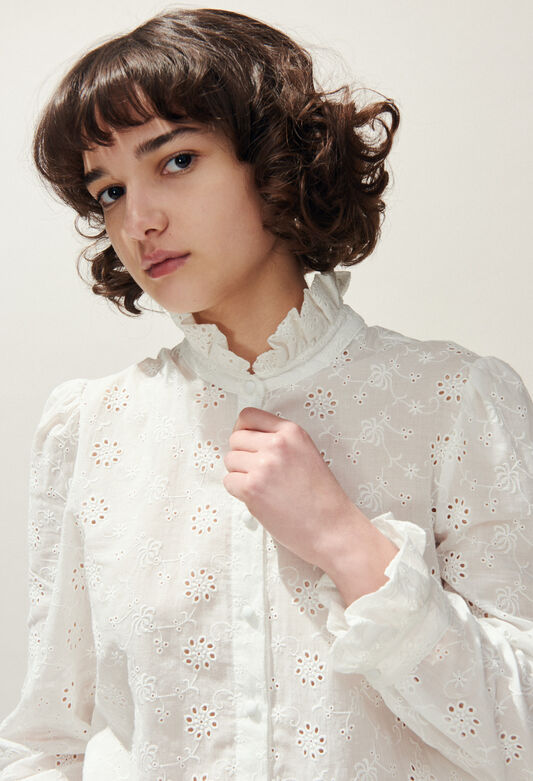 COLOMBE BRODEE : Tops et Chemises couleur ECRU