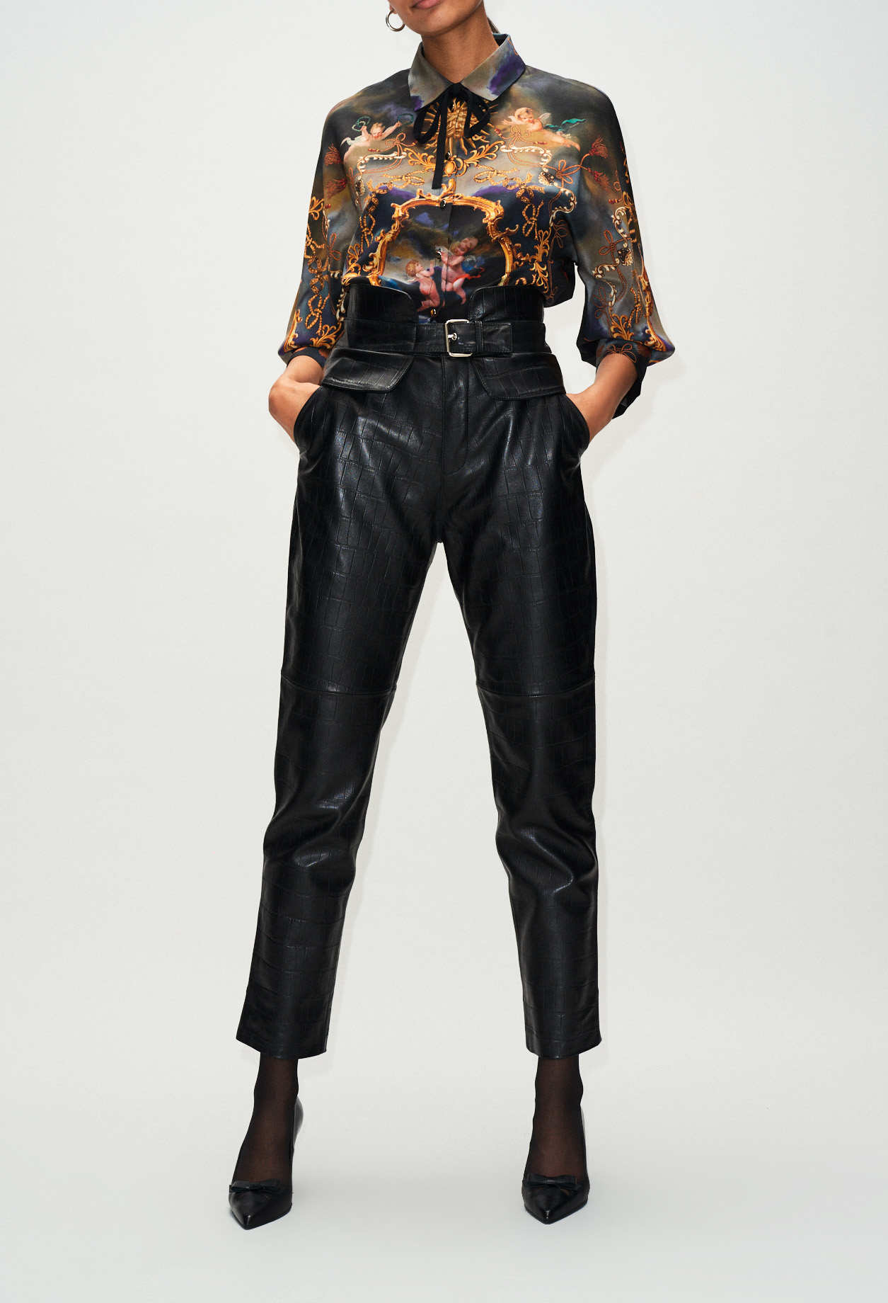 Leather crocodile patterned pants